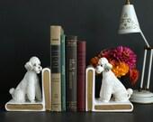Vintage White Poodle Lefton Bookends Mid Century Dog Bookend Set H4837