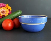 Vintage Blue Stoneware Pottery Mixing Bowl Small 4 Cup