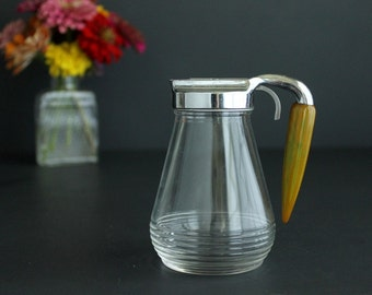 Vintage Syrup Pitcher Glass Container with Bakelite Handle by Federal Tool Corp