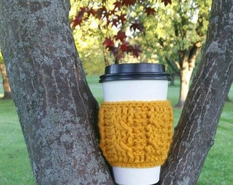Cabled Coffee Cup Sleeve - Mustard Yellow Coffee Cup Cozy - Ready to ship - Christmas Gift - Gift idea - stocking stuffer - coffee cup cozy