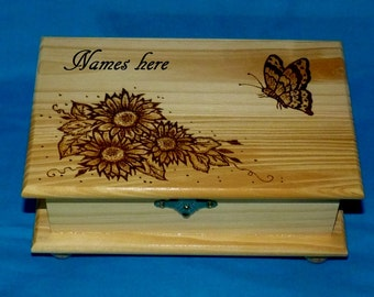 Rustic Wood Burned Jewelry Box Wooden Jewelry Chest Engraved Wood Box Personalized Jewelry Storage Organizer Butterfly Gift Ready to Ship