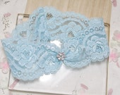 Blue rose lace garter, wedding garter,  lace garter, bridal garter, blue keepsake garter, something blue garter, single garter
