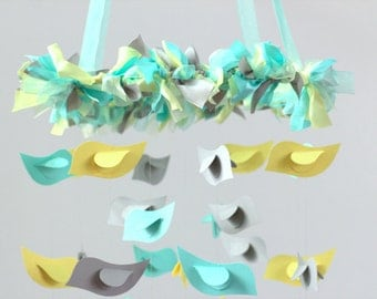 Aqua Yellow Gray Baby Bird Nursery Mobile, Wedding Decor, Baby Shower Gift, Photographer Prop