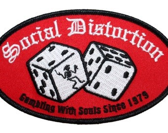 """Punk Rock Apparel """"Social Distortion: Gambling with Souls"""" Iron On Applique Patch"""