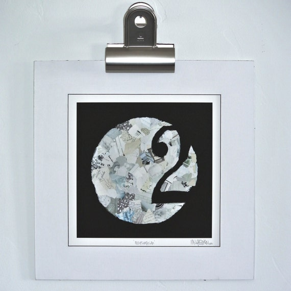 mixed media print: 12 inch square on watercolor paper '2/No Escapism' black and white print, negative space, circles, numbers, square print