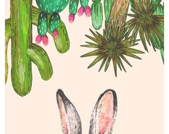 Jackrabbit + Cacti - Archival Print