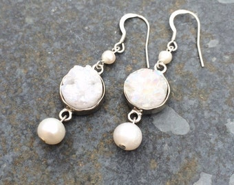 Druzy Quartz and Fresh Water Pearl Earrings