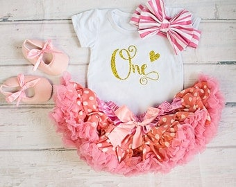 Baby Girl Birthday Clothing.. Peach Pink Birthday Outfit..Cake Smash Outfit..Girl Skirt and Top Set..Baby's 1st Birthday Outfit..Photo prop