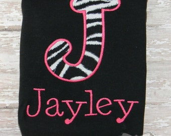 Pink & Zebra Print Personalized Name and Letter Shirt or Bodysuit