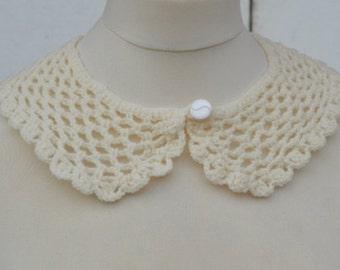 Cotton Peter Pan Collar,Crochet Collar, Ecru color, Detachable Collar Necklace, Ecru crochet Collar, gift for her.