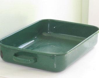 Large Vintage Green Enamelware Roasting Pan