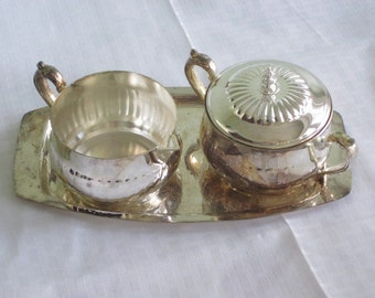 Vintage Silver Plate Sugar Bowl Creamer and Tray