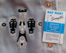 1950's unworn Nat Nast bowling shirt with tiki motif