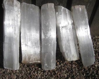 """18"""" Selenite Fireplace logs - FREE SHIPPING - 5 crystal Logs - all included"""