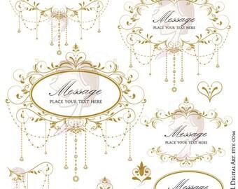 Antique Gold Wedding Clip Art Gold Garland Retro Foliage Clipart Vine Frame Chandelier Design DIY Wedding Graphics 10691