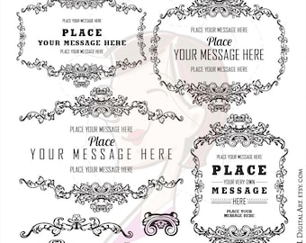 French Ornate Frames Antique Royal Fancy Frame Clipart VECTOR Png Clip Art Retro Elegant Ornamental Page Decoration Leaf Flourish 10218