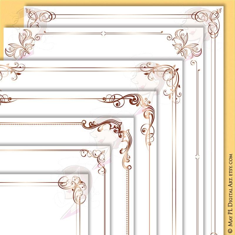 rose gold page borders 8x11 retro frames decorative flourish swirls foliage ornate clipart wedding invite diploma award certificate 10001