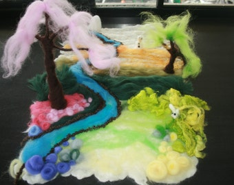 SALE was 300USD Four Seasons Fairytale Playscape. Wet and needle felted Playscape. All Seasons. Measures 54x35cm. Waldorf Inspired play mat.