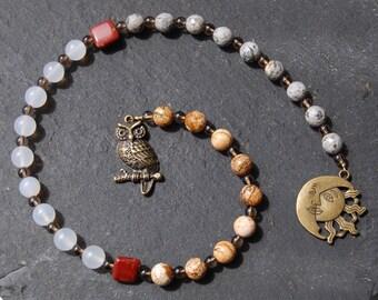 Wisdom of the Owl Pagan Prayer Beads/Witches'/Witch's/Druid's Ladder. Athena Minerva Blodeuwedd Cailleach Hecate Gwyn ap Nudd Barn Tawny