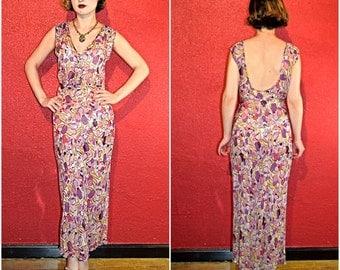 1930s Silk Chiffon Dress Bias Cut Abstract Floral Medium
