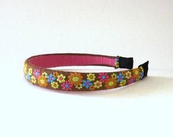 FALL SALE, Retro Flower Headband - Vintage Fabric Hair Accessory - Multi Color Flower Hair Band