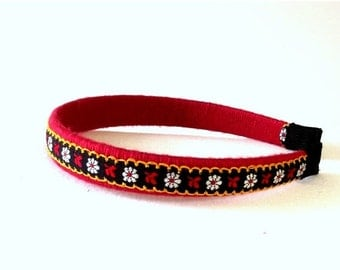 SALE, Embroidered Fabric Headband - Boho Flower Hair Accessory - Red & Black Hair Band