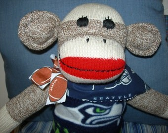 Seattle Mariners Football Brown Red Heel Sock Monkey Doll