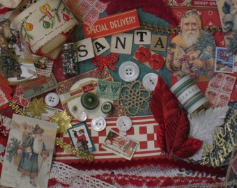 St. Nick Christmas Jumbo Vintage Inspiration Kit - 192 Pieces - Santa, Red, Green, Gold - Antique Papers, Lace, Ribbons - Supplies