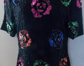 STENAY Vintage Sequin-Beads Silk Short Sleeve Blouse / Top NWT
