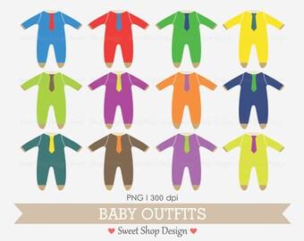 Baby Clothes Clip Art, Baby Shower Clip Art, Digital Clip Art, BRIGHT, Instant Download