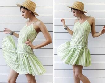 BENETTON Vintage green white striped full skirt summer mini dress S