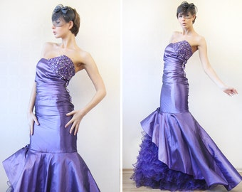 Vintage bright purple fitted full mermaid skirt asymmetric strapless rhinestone beaded wedding prom princess ball dress gown M