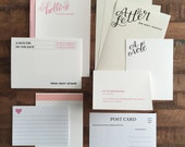 Personalized Stationery Set- Pink - Letter Writing Set, Assorted Note Cards, Assorted Stationery