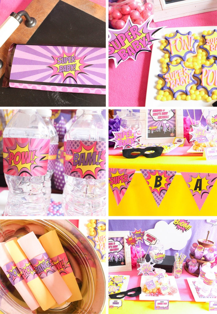 girl superhero baby shower decorations package diy by