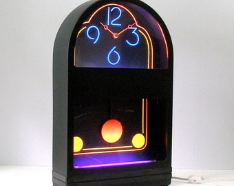Vintage Lg Black Light Clock Arched Top 1988 Nuon Gemini Rare 18 x 10 inch size Mod Neon Look 2 Black Lights Wall Mount Electric Plastic USA