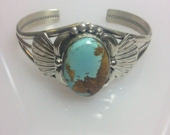 Navajo Sterling Silver Turquoise Cuff Braclet