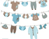 70% Sale Boy Laundry Line Digital Clipart - Scrapbooking , card design, invitations, stickers, paper crafts, web design - INSTANT DOWNLOAD