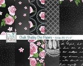 70% Sale Chalkboard Shabby Chic Digital Papers, Chalk Shabby Chic Scrapbook Paper - Chalk Wedding Papers - Floral Chalk Background - INSTANT