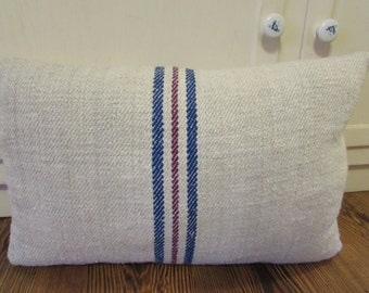 Grain Sack Pillow, Grain Sack Lumbar, Farmhouse Pillow, Farmhouse Decor,  Country Decor, Country Pillow, Shabby Cottage Decor, Lumbar Pillow