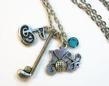 I Love Golf Necklace,  Golfer Jewelry, Golfing Personalized Birthstone Necklace, Golfer Gift, Antiqued Silver, Putter Necklace, Tee Time
