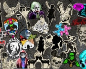 Set of vinyl stickers for your choice,gothic,art,skull,funny,horror,bone,zombie,Monroe,goth,Einstein,silhouette,gun