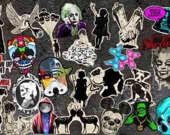 Set of vinyl stickers for your choice,gothic,art,skull,funny,horror,bone,zombie,Monroe,goth,Einstein,silhouette,gun