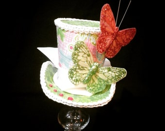 For the love of butterflies tiny top hat costume or cosplay piece