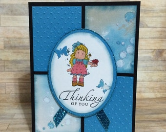 Thinking of you card, Handmade card, greeting card, Butterfly, Embossed, occasion card