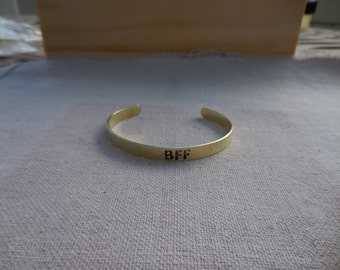 Brass Cuff etched with the word - BFF