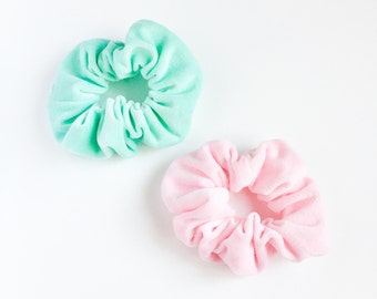 Scrunchie Velour pastel pink or green hair ties-pony tail holder-kawaii chou chou-hair accessory-velour hair scrunchies-love factory ny