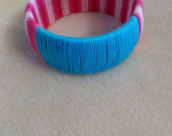 Blue and pink bangle