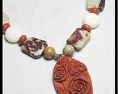 RESERVED for CATHY BEVAN - Carved Pendant Necklace Red Terracotta: White Coral, Leopard Skin and Red Jasper, Sterling Silver.