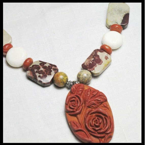 Pendant Necklace Earthy Gemstone Stones and Red Terracotta: White Coral, Leopard Skin Jasper, Red Jasper, Sterling Silver. Primitive tribal