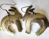 Earrings Vintage Handmade Silver Rabbits Etched French Hook Ear Wires Whimsical Boho Chic